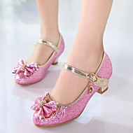 baratos Sapatos de Menina-Para Meninas Sapatos Couro Ecológico Primavera Salto minúsculos para Adolescentes Saltos Laço para Branco / Rosa claro