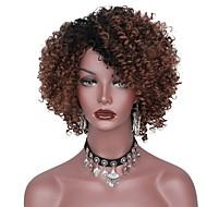 Syntetiske parykker Afro Frisure i lag Syntetisk hår Mørke hårrødder Brun Paryk Dame Kort Lågløs