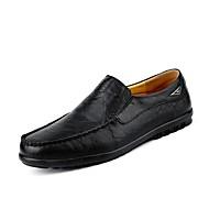 tanie Small Size Shoes-Męskie Buty PU Wiosna Lato Buty do nurkowania Mokasyny Mokasyny i pantofle na Casual Biuro i kariera Black Light Brown Dark Brown