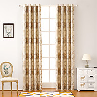 Double Pleat Tab Top Grommet Top Rod Pocket Curtain Formal Modern , Jacquard Floral Bedroom Polyester Blend Material Blackout Curtains