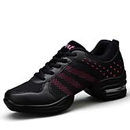 baratos Sapatilhas de Dança-Mulheres Tênis de Dança Tule / Courino Têni Recortes Sem Salto Personalizável Sapatos de Dança Rosa / Preto / Preto e Dourado