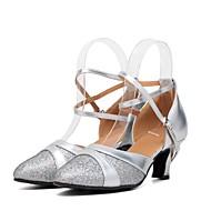 """billige Moderne sko-Dame Moderne Glimtende Glitter Paljett Syntetisk Høye hæler Joggesko Innendørs Strå Kubansk hæl Gull Sølv 2 """"- 2 3/4"""" Kan spesialtilpasses"""