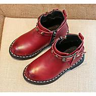 baratos Sapatos de Menino-Para Meninos Sapatos Courino Outono / Inverno Conforto / Coturnos Botas Caminhada Presilha para Preto / Castanho Claro / Vinho
