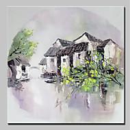 ハング塗装油絵 手描きの - 風景 田園風 近代の インナーフレームなし / ローリングキャンバス