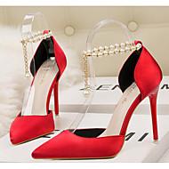 abordables Talons pour Femme-Femme Chaussures Polyuréthane Printemps Automne Confort Chaussures à Talons Marche Talon Aiguille Bout pointu Billes pour Décontracté Or