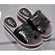 Feminino Sapatos Couro Envernizado Primavera Outono Conforto Sandálias Creepers para Casual Branco Preto Prata