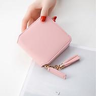 Women Bags PU Coin Purse Zipper Tassel for Casual All Season Wine Blushing Pink Black