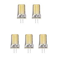 billige -5pcs 2W G4 LED-lamper med G-sokkel 1 leds COB Varm hvit Kjølig hvit 1lm 3500/6500K AC 220-240V