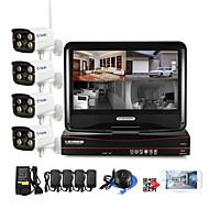 halpa -4 kpl langattomat nvr-sarjat 10,1 tuuman näyttö 4 kpl IP-kamera 720p vedenpitävä ja yönäkö CCTV-järjestelmä