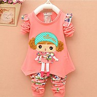 סט של בגדים כותנה שרוול ארוך דפוס אנימציה ליציאה יום יומי / פעיל בנות פעוטות / חמוד