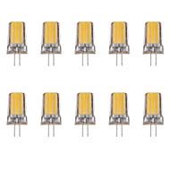 billige Bi-pin lamper med LED-10pcs 2W 80lm G4 LED-lamper med G-sokkel 1 LED perler COB Varm hvit Kjølig hvit 220-240V