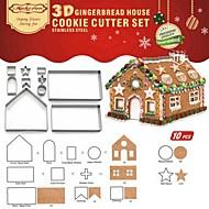 billige -10 stk. 3D rustfrit stål jul kiks cookie cutter mold diy bagning værktøj