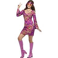 Vintage Hippie 1970erne Kostume Dame Festkostume Outfit Lilla Vintage Cosplay Langærmet Vidde ærmer Kort / mini