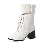 Mujer Zapatos Semicuero Otoño / Invierno Botas de Moda Botas Tacón Cuadrado Dedo cuadrada Hasta la Rodilla Perla de Imitación Negro / xrFGLhXLP0