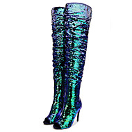 cheap Women's Shoes-Women's Shoes Paillette Spring Fall Fashion Boots Slouch Boots Boots Stiletto Heel Peep Toe Thigh-high Boots Sequin for Dress Party &