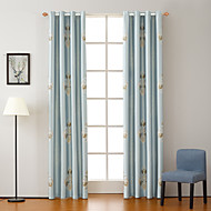 Double Pleat Tab Top Grommet Top Rod Pocket Curtain Formal Casual Modern , Patchwork Bedroom Polyester Blend Material Blackout Curtains