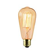 Χαμηλού Κόστους Τέλειοι λαμπτήρες φωτισμού-BriLight 1pc 40 W E27 E26/E27 ST64 Θερμό Λευκό κ Λαμπτήρας πυρακτώσεως Vintage Edison AC 220-240V V