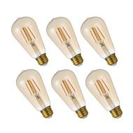 6pcs 4W 320lm E26 Lâmpadas de Filamento de LED ST21 4 LEDs COB Regulável Luzes LED Decorativa Lâmpada Edison Branco Quente 2200K AC