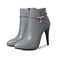 Mujer Zapatos PU Otoño   Invierno Confort   Innovador Botas Tacón alto Dedo  Puntiagudo Botines   Hasta el Tobillo Remache Negro   Gris   57dd52ca0ab2