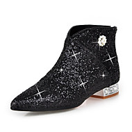 cheap -Women's Shoes Sparkling Glitter / Paillette / Synthetic Fall / Winter Fashion Boots / Bootie Boots Crystal Heel Pointed Toe Booties /