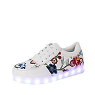 Dames Platte schoenen Comfortabel Noviteit Oplichtende schoenen Herfst Winter PU Causaal Veters Platte hak Zwart Rood Plat
