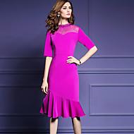 女性用 プラスサイズ お出かけ ストリートファッション シース ドレス - フリル, ソリッド ミディ