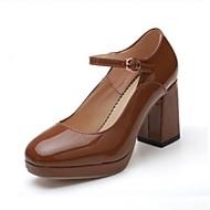 baratos Sapatos Femininos-Mulheres Sapatos Couro Ecológico Primavera / Verão MaryJane Saltos Salto Robusto Ponta quadrada Preto / Bege / Khaki / Social