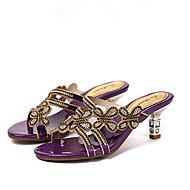 Χαμηλού Κόστους Βιολετί παπούτσια-Γυναικεία Παπούτσια Συνθετική μικροΐνα PU Άνοιξη / Καλοκαίρι Ανατομικό / Πρωτότυπο / Λουράκι στη Φτέρνα Σανδάλια Ψηλοτάκουνο Ανοικτή μύτη