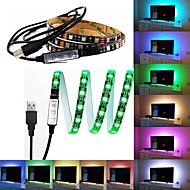cheap LED Strip Lights-60 LEDs 1M LED Strip Light 17-Key Remote Controller RGB TV Background Light <5V