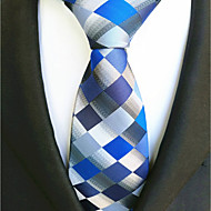 cheap Men's Accessories-Men's Polyester Necktie,Work Casual Plaid/Checkered All Seasons Blue
