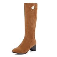 お買い得  靴 プラスサイズ-女性用 靴 ヌバックレザー 冬 秋 ファッションブーツ ブーツ チャンキーヒール ラウンドトウ ニーハイブーツ パール のために カジュアル ブラック グレー ライトブラウン