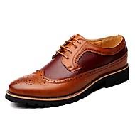 Недорогие -Для мужчин обувь Кожа Весна Лето Осень Зима Удобная обувь Баллок обувь Туфли на шнуровке Шнуровка Назначение Повседневные Черный