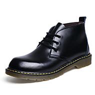 Bărbați Pantofi Piele Primăvară Toamnă Cizme la Modă Cizme Dantelă pentru Casual Negru Maro Deschis Vișiniu