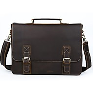Men Bags Cowhide Briefcase Buttons for Casual Formal All Season Brown