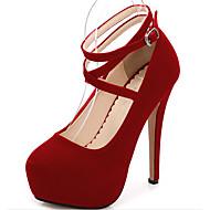 baratos Sapatos Femininos-Mulheres Sapatos Pele Nobuck Primavera / Outono Conforto / Plataforma Básica Saltos Salto Agulha Preto / Vermelho / Azul