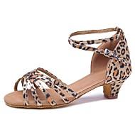 baratos Sapatilhas de Dança-Mulheres Sapatos de Dança Latina Cetim Salto Salto Cubano Personalizável Sapatos de Dança Leopardo / Espetáculo