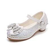 tanie Obuwie dziewczęce-Dla dziewczynek Buty Brokat Wiosna Jesień Tiny Obcasy dla młodzieży Buty dla małych druhen Comfort Szpilki Stras Kokarda Sztuczna perła