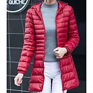 Langt Ærme Lang Dynejakke Damer Frakke,Simple I-byen-tøj Ensfarvet-Bomuld