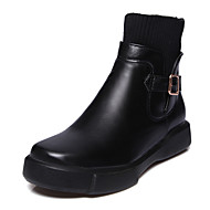 Feminino Sapatos Courino Couro Ecológico Inverno Outono Botas da Moda Curta/Ankle Botas Raso Ponta Redonda Botas Curtas / Ankle Presilha