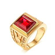 Herre Syntetisk Ruby Band Ring - Guldbelagt Vintage, Elegant 7 / 8 / 9 Guld Til Bryllup / Daglig / Ceremoni