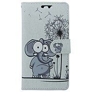 billiga Mobil cases & Skärmskydd-fodral Till Huawei P9 Korthållare Plånbok med stativ Lucka Elefant Tecknat Hårt PU läder för Huawei
