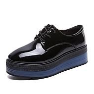 お買い得  レディースオックスフォードシューズ-女性用 靴 PUレザー 春 コンフォートシューズ オックスフォードシューズ フラットヒール ラウンドトウ のために カジュアル ブラック ブルー
