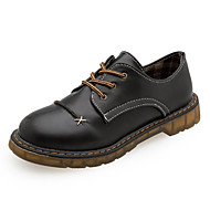 お買い得  レディースオックスフォードシューズ-女性用 靴 PUレザー 秋 コンフォートシューズ オックスフォードシューズ フラットヒール ラウンドトウ 編み上げ のために カジュアル ブラック Brown