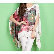 Χαμηλού Κόστους -Γυναικεία Μπλούζα Κομψό στυλ street Φλοράλ, Μανίκι Νυχτερίδα Υπερμεγέθη Στάμπα / Άνοιξη / Καλοκαίρι