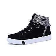 baratos Sapatos Masculinos-Homens Couro Ecológico Outono / Inverno Conforto Botas Botas Cano Médio Preto / Cinzento / Preto e Branco