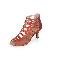 baratos Sapatilhas de Dança-Sapatos de Dança Latina Gliter Sandália / Salto Salto Carretel Personalizável Sapatos de Dança Dourado / Preto / Luz Vermelha