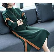 Žene Vintage Slim Bodycon Haljina - S izrezom, Jednobojni Midi