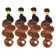 4 pakker Brasiliansk hår Krop Bølge 10A Ubehandlet hår Ekte hår Menneskehår Vevet 8-30 tommers Nyanse Hårvever med menneskehår Lugtfri Fest Ekstensjon Hairextensions med menneskehår
