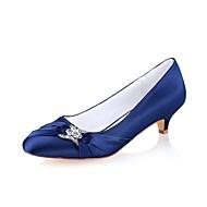 Kadın's Ayakkabı Streç Saten Bahar / Sonbahar Temel Topuklu Düğün Ayakkabıları Minik Topuk Yuvarlak Uçlu Düğün / Parti ve Gece için