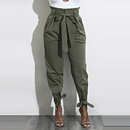 cheap -Women's Street chic Chinos Pants - Solid Colored Bow / Ruched High Rise / Spring / Fall / Holiday
